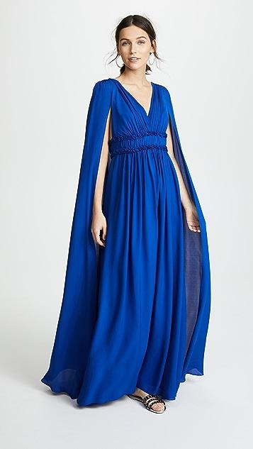 Marchesa Notte V Neck Silk Cape Gown - Royal