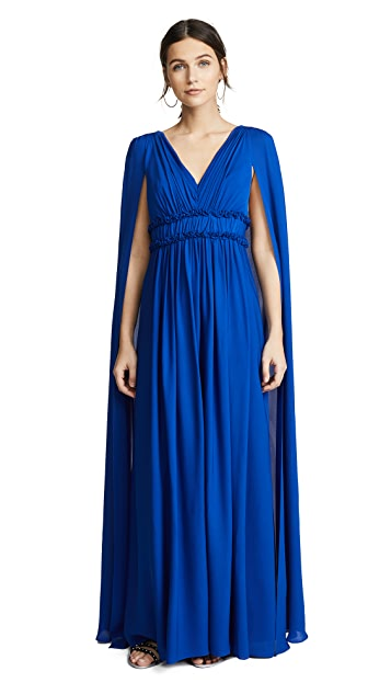Marchesa Notte V Neck Silk Cape Gown