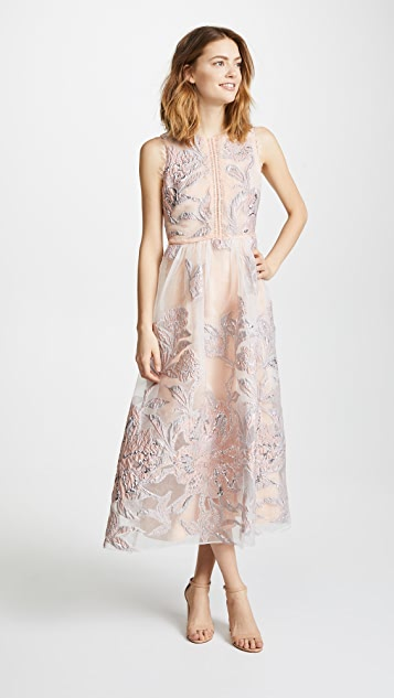 Marchesa Notte Sleeveless Cocktail with Lace Trim
