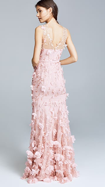 Marchesa Notte Embroidered Gown with 3D Flowers