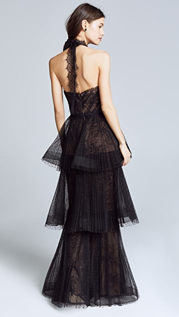 Marchesa Notte Tiered Halter Gown