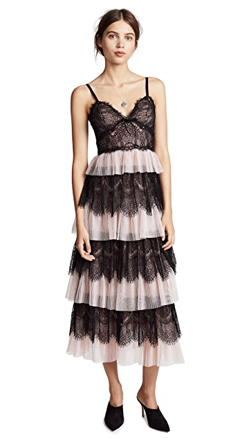 Marchesa Notte Pleated & Scalloped Tiered Gown