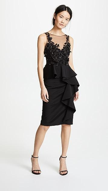 Marchesa Notte 3D Beaded Ruffle Dress