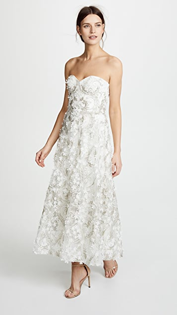 3 D Embroidered Strapless Gown by Marchesa Notte