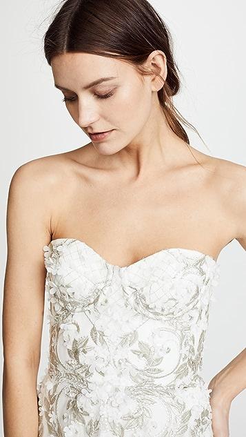 Marchesa Notte Вечернее платье без бретелек с объемной вышивкой