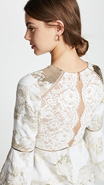 Marchesa Notte Brocade Cocktail Dress