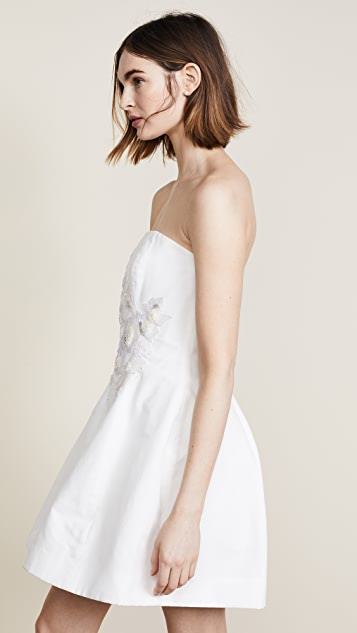 Marchesa Notte Beaded Applique Cocktail Dress