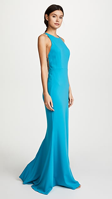 Marchesa Notte Stretch Jewel Neck Gown with Beaded Illusion Back