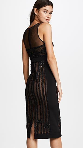 Marchesa Notte Sleeveless Embroidered Cocktail Dress