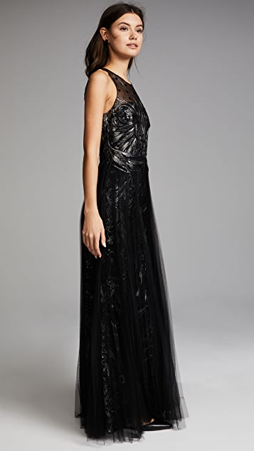 Marchesa Notte Embroidered Tulle Sleeveless Gown