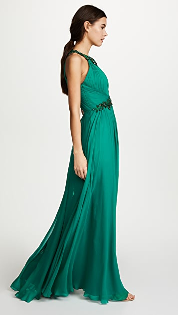 Marchesa Notte Chiffon Halter Gown with Beaded Appliques