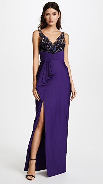 Marchesa Notte Drapped Faille Gown with Beaded V Neckline