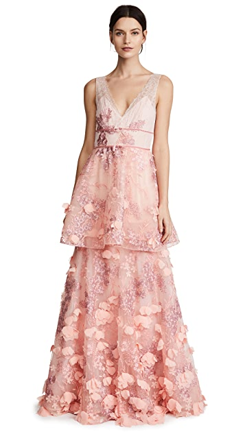 Marchesa Notte Sleeveless Two Tiered Gown