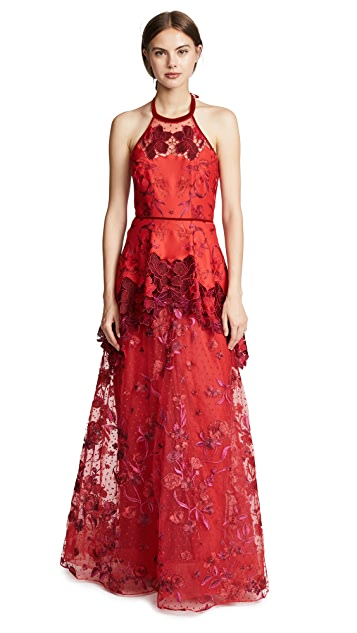 Marchesa Notte Halter Embroidered Gown