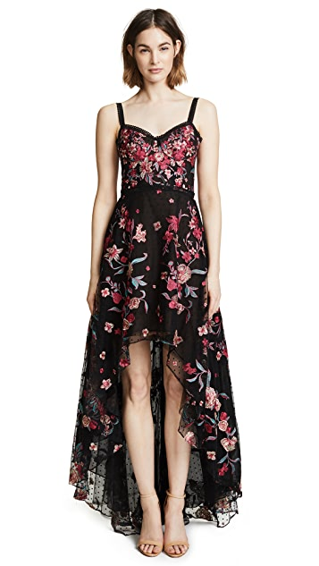 Marchesa Notte High Low Embroidered Tulle Gown