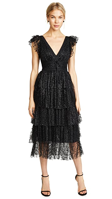 Marchesa Notte Flutter Sleeve Cocktail Dress