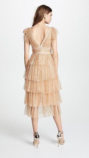 Marchesa Notte Flutter Sleeve Cocktail Dress
