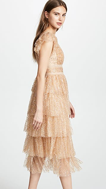 Marchesa Notte Glitter Tulle Cocktail Dress