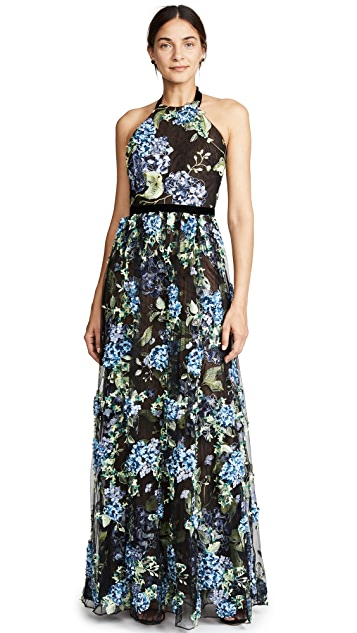 Marchesa Notte Halter Embroidered Tulle Gown with 3D Embroidery