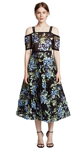 Marchesa Notte 3D Embroidered Flocked Gown