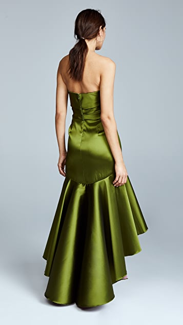 Marchesa Notte Strapless High Low Gown