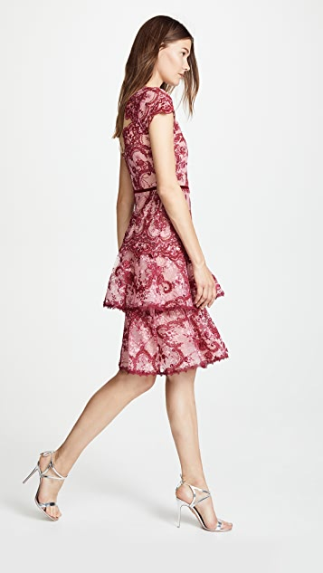 Marchesa Notte Cap Sleeve Cocktail Dress
