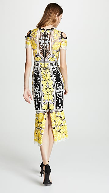 Marchesa Notte Cold Shoulder Cocktail Dress