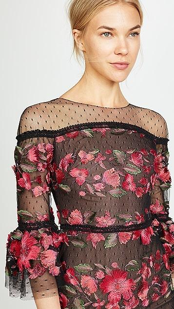 Marchesa Notte Fringe Floral Cocktail Dress