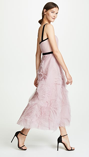 Marchesa Notte Sleeveless Textured Tulle Gown