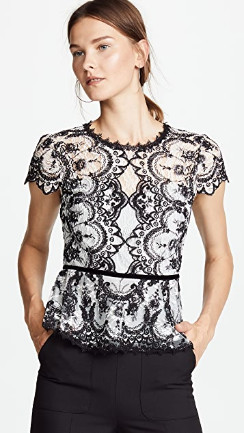Corded Embroidered Lace Top by Marchesa Notte