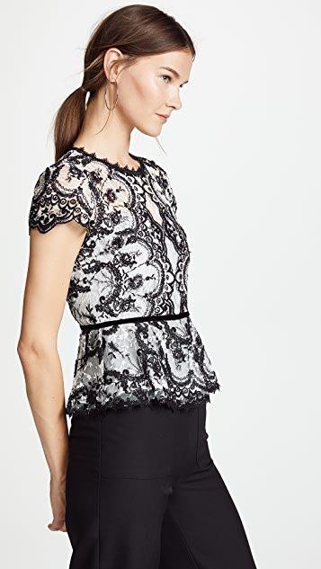 Marchesa Notte Corded Embroidered Lace Top
