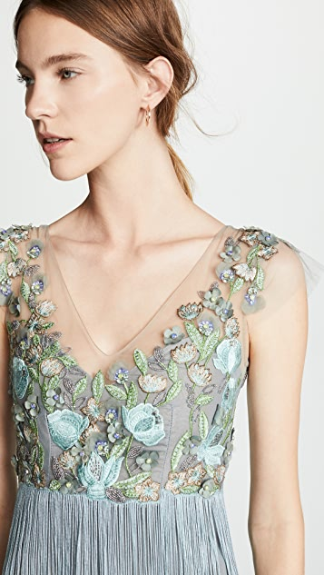 Marchesa Notte Tiered V Neck Gown