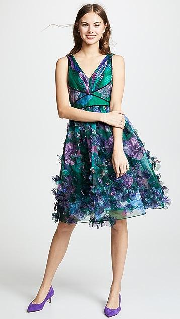 Marchesa Notte Sleeveless Organza Cocktail Dress