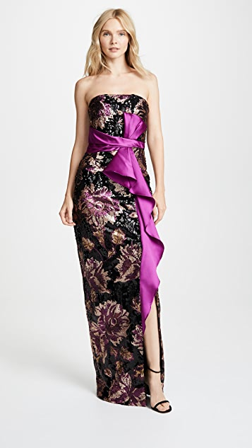 e8839874 Marchesa Notte Strapless Sequin Peony Gown   SHOPBOP
