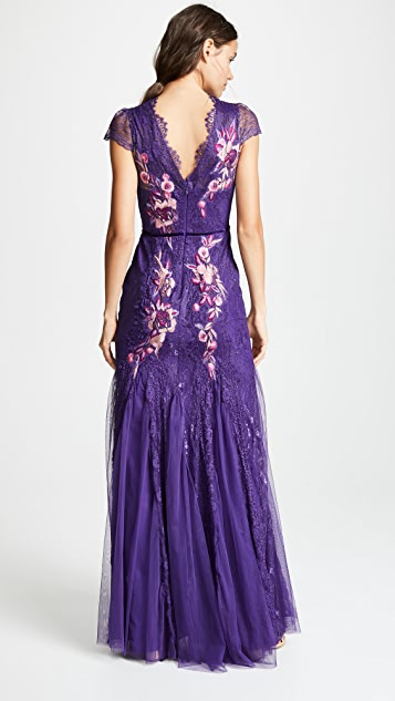 Marchesa Notte Short Sleeve Patchwork Godet Gown