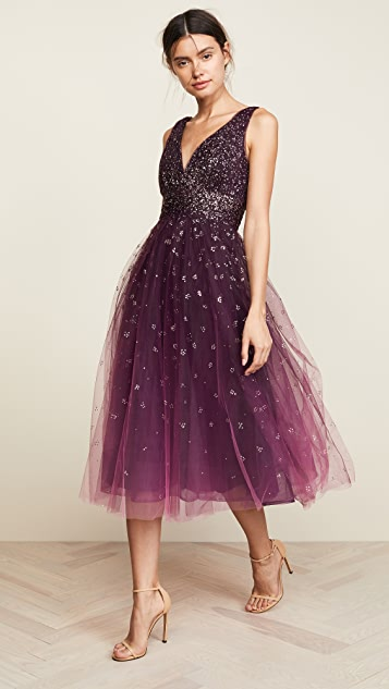 ... Marchesa Notte V Neck Ombre Pleated Tulle Dress ... 210157be2