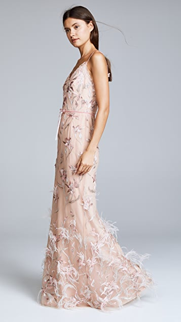Marchesa Notte Sleeveless V Neck Feather Embroidered Gown