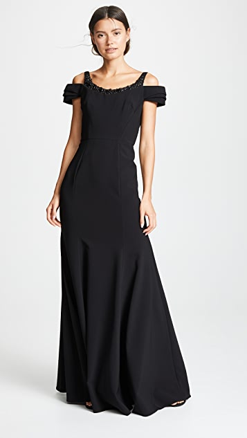 Marchesa Notte Cold Shoulder Stretch Crepe Gown With Beaded Embellishment