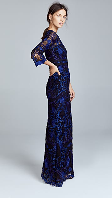 Marchesa Notte Guipure Lace Gown with 3/4 Sleeves