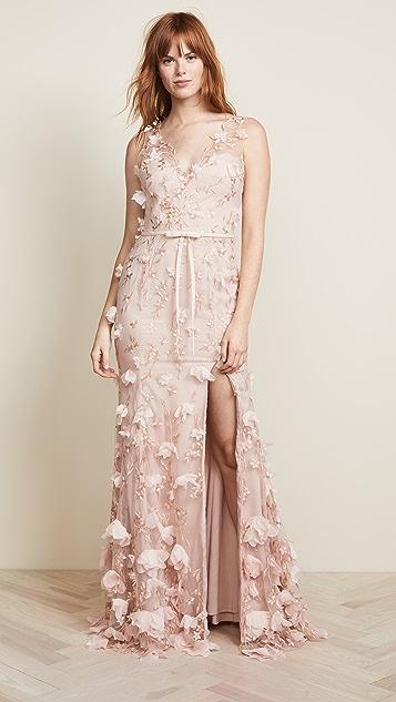 bed9146a Marchesa Notte V Neck 3D Floral Dress | SHOPBOP