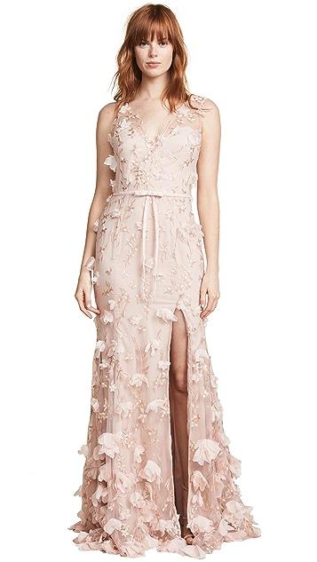 Marchesa Notte V Neck 3D Floral Dress