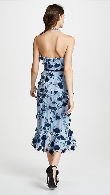Marchesa Notte Sleeveless Embroidered Halter Cocktail Dress