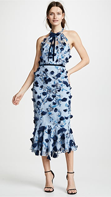 Marchesa Notte Sleeveless Embroidered Halter Cocktail Dress