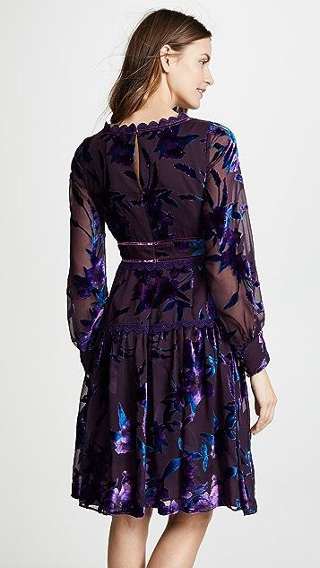 Marchesa Notte Bishop Sleeve Cocktail Dress
