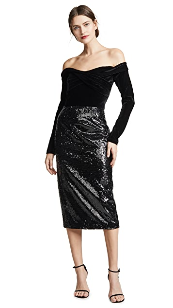 Marchesa Notte Off the Shoulder Sequin Skirt Cocktail Dress