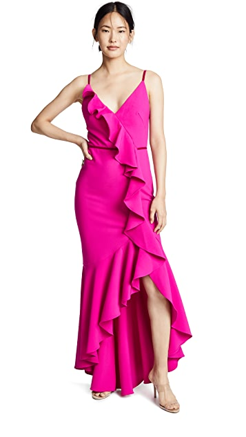 Marchesa Notte Sleeveless V-Neck Crepe Gown