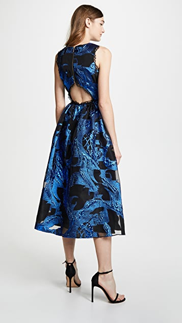 Marchesa Notte Sleeveless Metallic Fils Coupe Cocktail Dress