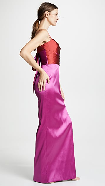 Marchesa Notte Sleeveless Two Tone Stretch Mikado Gown