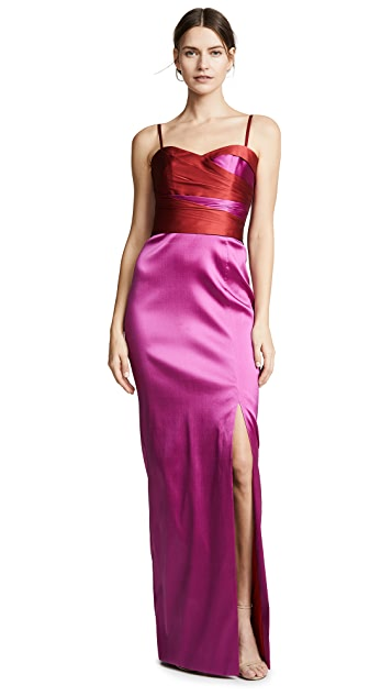 Marchesa Notte Sleeveless Two Tone Stretch Mikado Gown