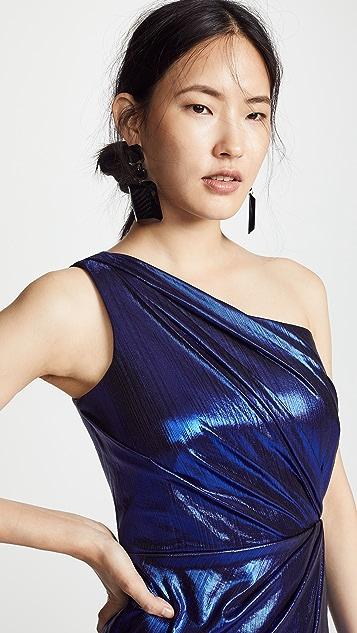 Marchesa Notte Плиссированное вечернее платье с открытым плечом